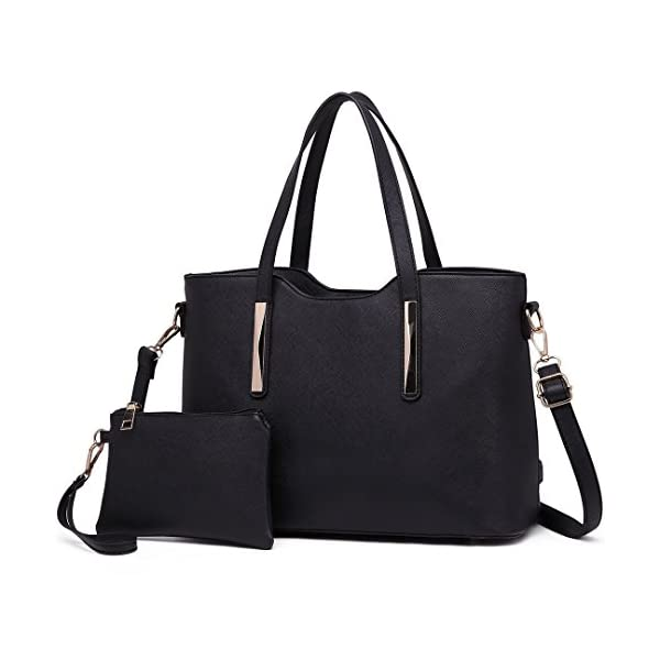 Miss Lulu Sac à main femme 2 avec pochette Sac à bandoulière Chic Bag (Noir)