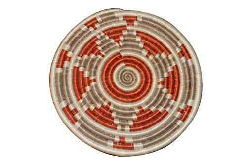 - Table Mat| Trivet| Heat Resistant| Plate mat| African Table mats/African Woven Trivet/Rwanda Basket/Woven Table mats Hand Woven Coaster/Colorful hotpot Bohemian (Orange Sand)