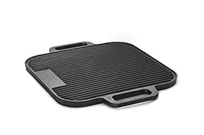 "GURO Cast Iron Pre-Seasoned Reversible Grill / Griddle Double Play 14.7"" / 14.7"" GUS308"