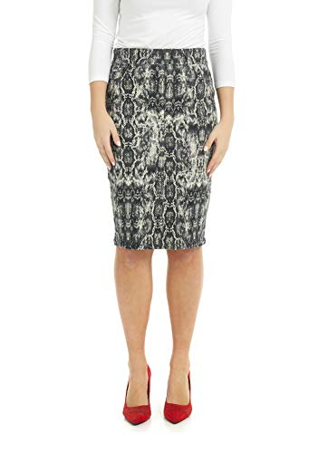Esteez Women's Denim Pencil Skirt Stretch Jean Brooklyn Snake Print 14