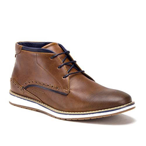 Men's Chukka Ankle High Contrast Lace Up Rubber Sole Sneakers Boots, Cognac, 7.5