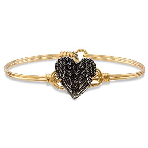 Luca + Danni Angel Wing Heart Bangle Bracelet - Regular/Brass - Bracelet Hook Heart