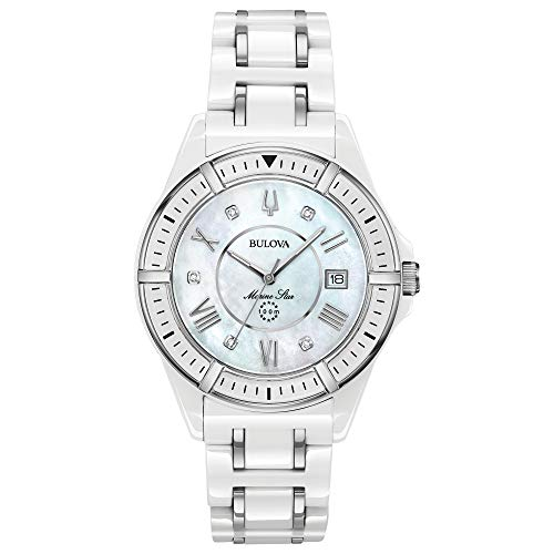 Bulova Women's Marine Star Quartz Watch with Ceramic Strap, White, 18 (Model: 98P172)