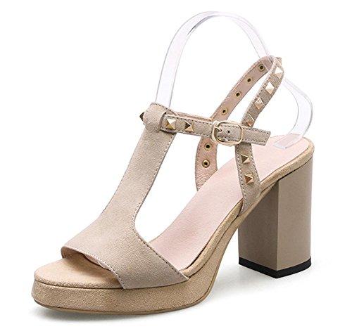 T Nieten Schuhe mit hohen Absätzen, Sandalen Frauen dicke wasserdichte Sandalen apricot