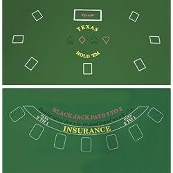 Da Vinci 2-Sided 36-Inch x 72-Inch Texas Holdem & Blackjack Casino Felt Layout