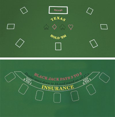 Da Vinci 2-Sided 36-Inch x 72-Inch Texas Holdem & Blackjack Casino Felt Layout (Green Felt Poker Table)