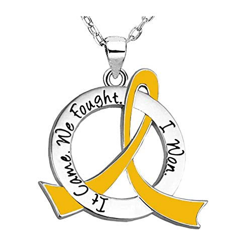 - It Came. We Fought. I Won. Survivor Necklace Childhood Cancer Neuroblastoma COPD (Gold Ribbon)