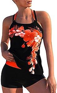AoMoon Women's Tankini High Waist Cross Back Swimsuit Backless Bathing Suits Two Piece Tummy Control Swim