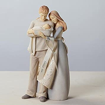 Enesco Foundations Couple with Baby Figurine, 9-Inch