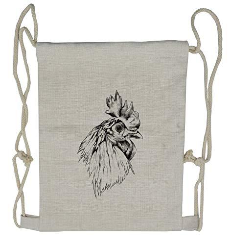 Ambesonne Farm Animal Drawstring Backpack, Rooster Head Portrait, Sackpack Bag