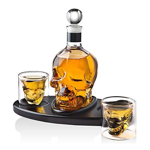- Whiskey Decanter Skull Set with 2 Cocktail Shot Glasses - for Liquor, Scotch, Bourbon or Vodka - 850ml