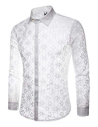 INVACHI Men's Sexy Fishnet Button Down Shirts See Through Lace Sheer Shirts White Large