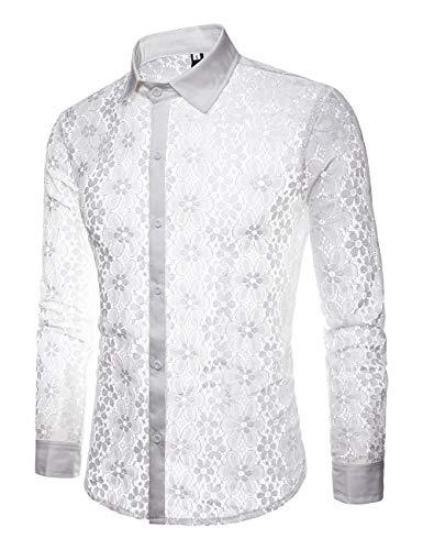 (INVACHI Men's Sexy Fishnet Button Down Shirts See Through Lace Sheer Shirts White)