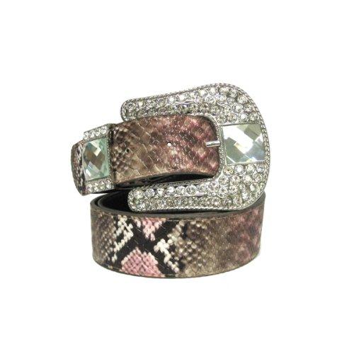 "1 1/2"" Women's Rhinestone Embellished Horse Shoe Buckle on Quality Snake Skin. from WonderMolly"