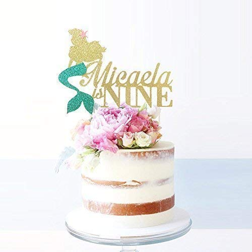 The Little Mermaid Personalized Age and Name Cake Topper, Princess Cake Topper, Mermaid Topper, Disney Princess Birthday Decoration, Ariel