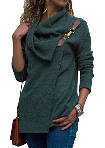 Women's Turtleneck Sweater Cowl Neck Chunky Knit Loose Button Wrap Long Sleeve Pullover Sweatshirt Tops Coat Solid Green M 8 10