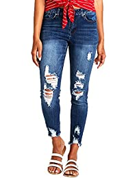 Women's Boyfriend Jeans Distressed Slim Fit Ripped Jeans Comfy Stretch Skinny Jeans