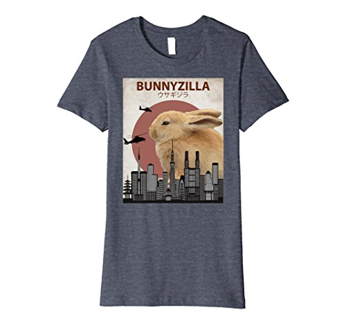 Womens Bunnyzilla Bunny T-Shirt | Funny Gift for Rabbit Lovers Medium Heather (Rabbit Animal T-shirt)
