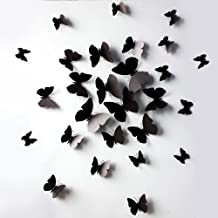 Black 24PCS 3D Butterfly Wall Stickers Decor Art Decorations 3 size