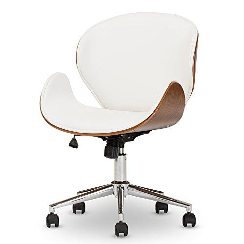 Baxton Studio Evonne Modern & Contemporary Office Chair, Walnut/White