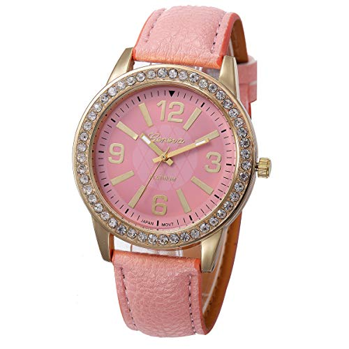 (Outsta Women's Geneva Watches Stainless Steel Analog Leather Quartz Wrist Watch Best Gift (Pink))
