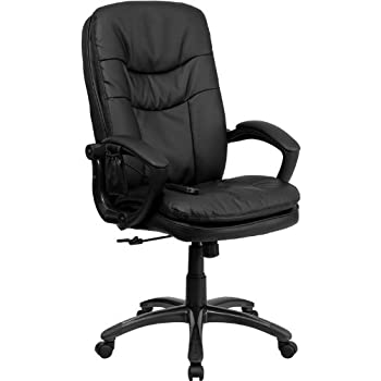 high back massaging black leather executive office chair with silver base. flash furniture high back massaging black leather executive swivel chair with arms office silver base i