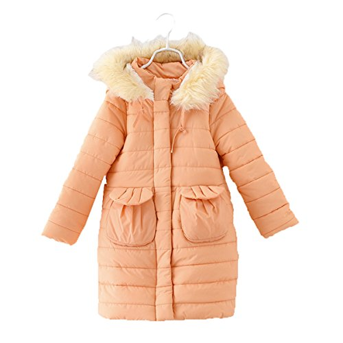 Janeyer Children Girls Faux Fur Hooded Winter Outfit Wadded Jacket Overcoat (Orange) 130cm/US 7Y-8Y