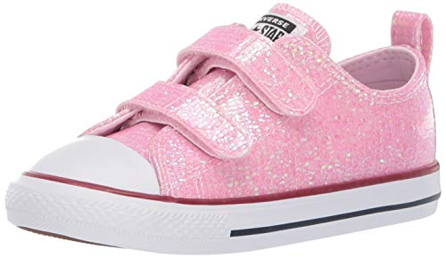 Kids Girls Converse (Converse Girls Infants' Chuck Taylor All Star 2V Glitter Low Top Sneaker, Pink Foam/Enamel Red/White, 9 M US)