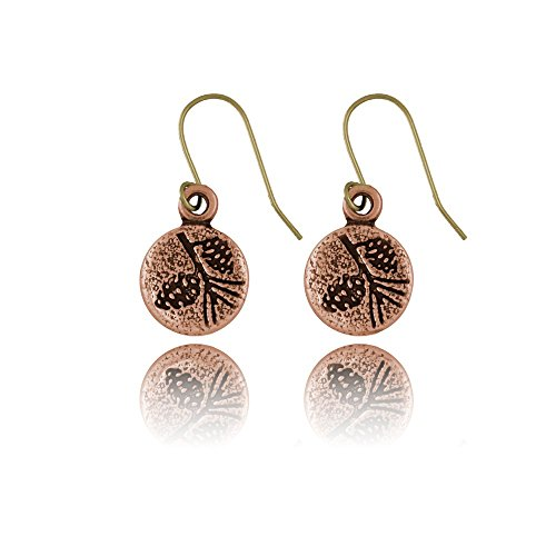 Nature Pals Dangle Style Round Copper Earrings (Pine Cone)