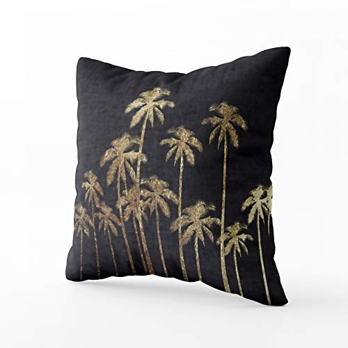 Musesh Christams Gold Tropical Palm Trees Black Cushions Case Throw Pillow Cover for Sofa Home Decorative Pillowslip Gift Ideas Household Pillowcase Zippered Pillow Covers 20X20Inch