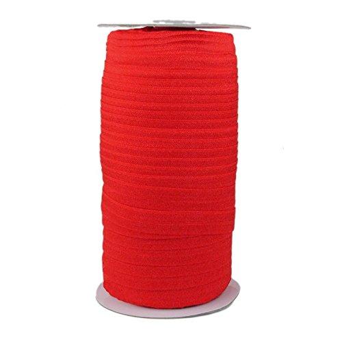 100 Yards - Red - 5/8'' Fold Over Elastic - ElasticByTheYard by ElasticByTheYard