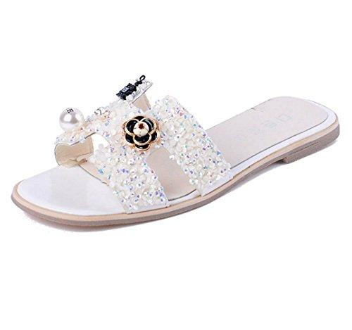 Rhinestone Flower Slide Sandal - AVENBER Women's Flat Slides Sandal with Flowers Emblems Bohemian Shining Rhinestones Clearance Non-Slip Beach Wear