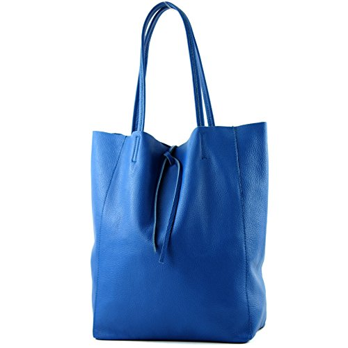 Grand sac à bandoulière en cuir pour femme Shopper T163, couleur: bleu métallisé anthracite