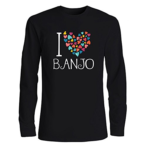 Idakoos I Love Banjo Colorful Hearts Musical Instrument Long Sleeve T-Shirt