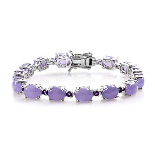 925 Sterling Silver Platinum Plated Oval Purple Jade Stone Amethyst Link Tennis Bracelet for Women Jewelry 7""