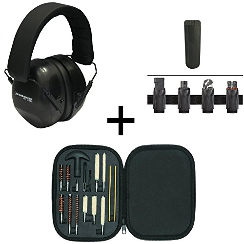 Ultimate Arms Gear 26db NRR Noise Reduction Suppressor Earmuffs + Brush Rod Swab Cleaning Tool Set + Sig Sauer 9mm .40 S&W .45 ACP Belt Clip Pouch Holder Fits Pistol Magazines, Black