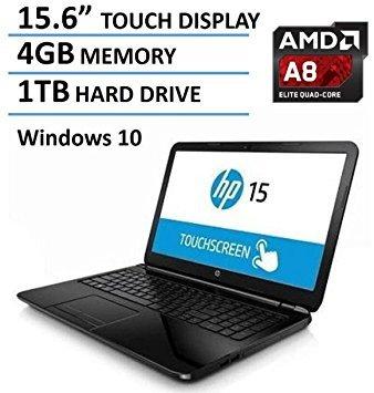 2016 HP 15.6-Inch Touchscreen Laptop, AMD Quad-Core A8-7410 Processor, 4GB RAM, 1TB HDD, DVD+/-RW, AMD Radeon R5, HDMI, Wifi, Webcam, Windows10 (Amd Satellite Laptop Computers)