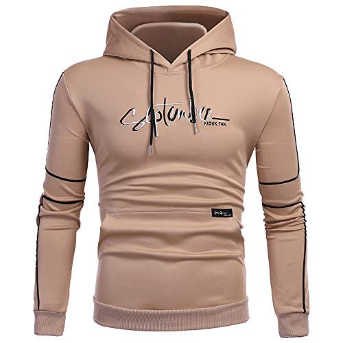 Sunhusing Men's Letter Printed Stitching Long Sleeve Hooded Sweatshirt Leisure Pocket Pullover Top -
