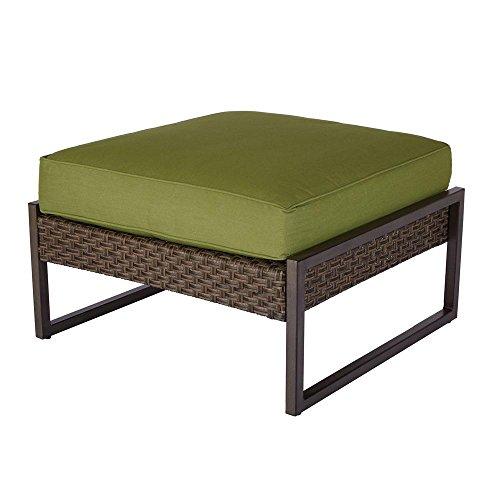 Hampton Bay Carol Stream Patio Ottoman/Coffee Table with Spectrum Cilantro Cushion