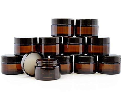 1-Ounce Amber Glass Jars (12-Pack); 30ml Straight Sided Containers for Cosmetics, Lotions, Body Scrubs & Balms