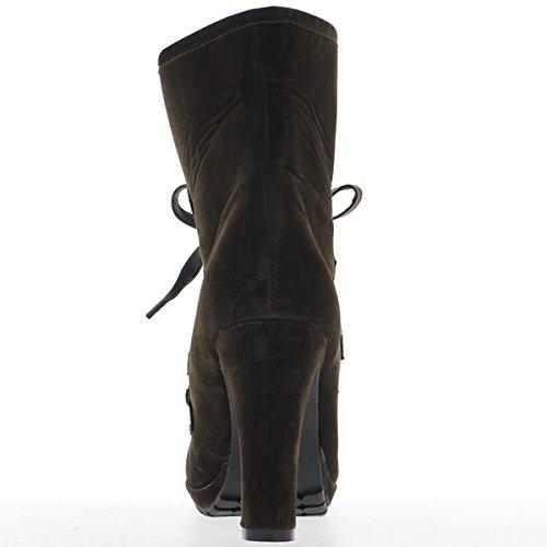 Bottines hautes femme marrons talons de 10cm et plateforme de 2cm