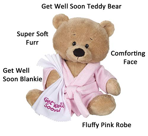 Ganz Get Well Soon Teddy Bear with a Pink Robe, Blankie for Girls with Good-Bye Tonsils Book Gift Set