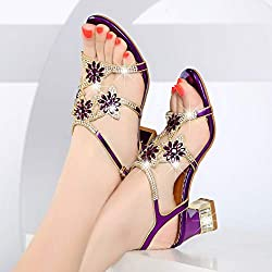 Women's Crystal Rhinestone Thick Heel Sandals