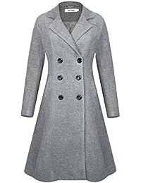 8f5aaf6f63a Women s Wool Coat Long Pea Coat Double Breasted Trench Coat