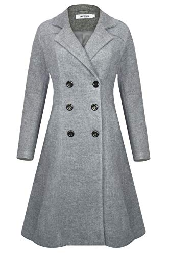 APTRO Women's Winter Lapel Double Breasted Wool Trench Coat Long Overcoat XL WS02 Gray - Grays Wool Coat
