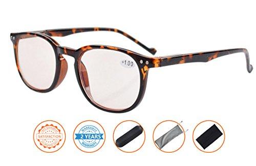 Reduce Eyestrain,Anti Blue Rays,UV Protection,Unisex Computer Reading Glasses(Tortoise,Amber Tinted Lenses) - Eyeglasses Computer