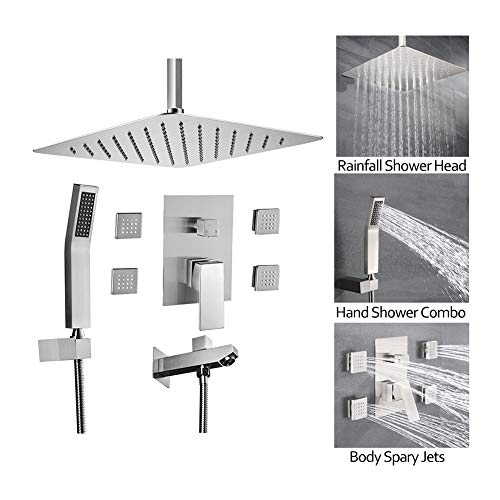 BST NER19003 4 Way Shower System, 10 Inch Rianshower Ceiling Mounted, High Pressure Brass Hand Shower, 4 Pcs Body Jets and Shower Tub Spout Faucet Set, Contain Rougn In Shower Valve, Brushed Nickel