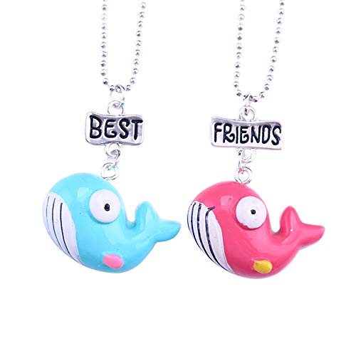 MJartoria Best Buds Cute Milk and Cookie Friendship Necklaces Set of 2 (Fish)