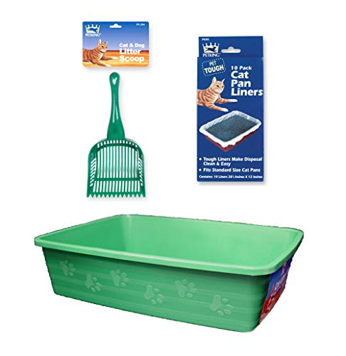 Cat Litter Pan Kit - 3 Piece Set Includes Pet Litter Box, Litter Scoop Shovel, and Pan Liners - Great Starter Pack for Cats and Kittens - ()