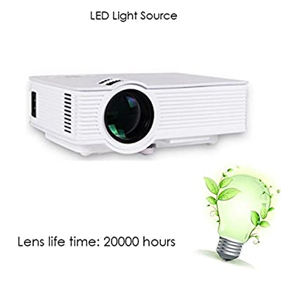 Mini Micro Video Projector ,GM60a 1000 lumens 1920x1080 Pixels 30,000 hours LED light life time Wireless Home Cinema Theater Multimedia Projector Support HD PC USB HDMI AV VGA
